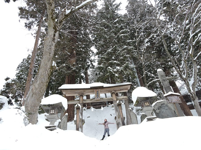 torii gate entrance to shrine covered in snow