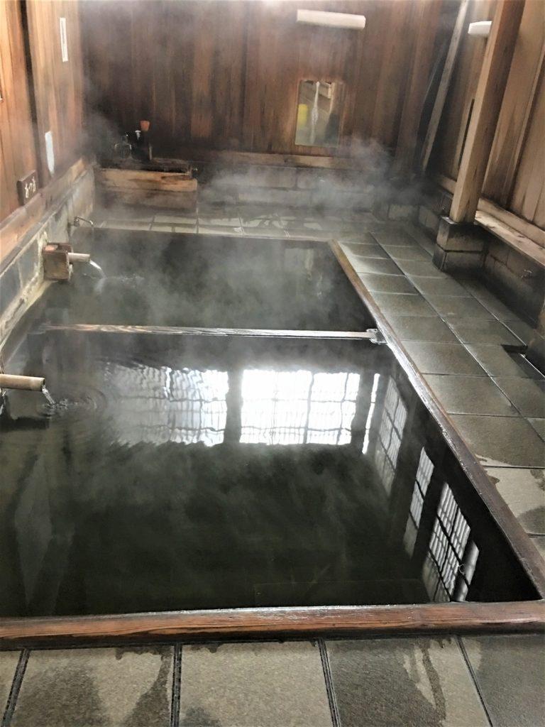inside of soto-yu bath house in Nozawa onsen