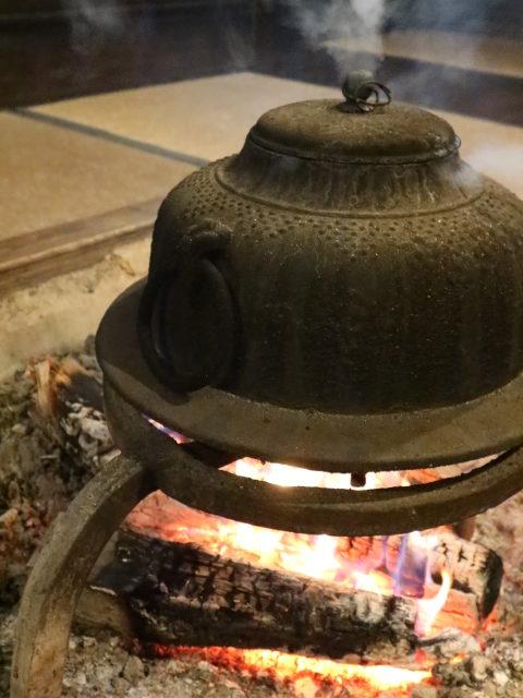 irori hearth with kettle