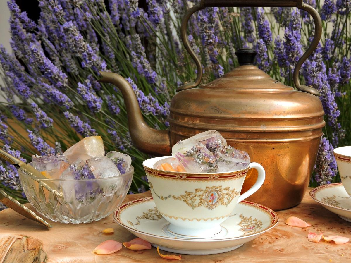 noritake 1802 nippon tea cup lavender rose petal ice cubes in garden