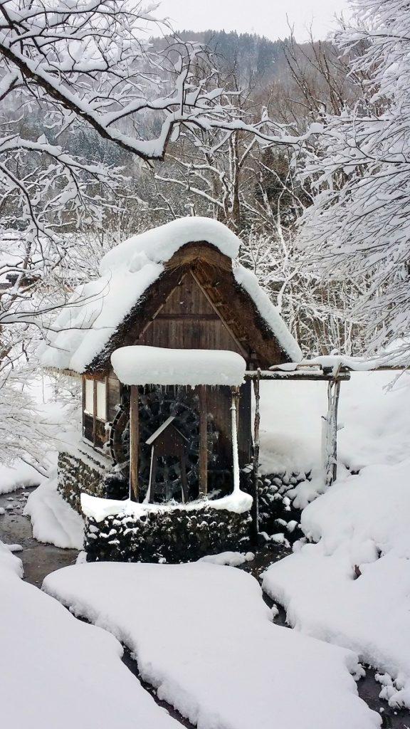 water mill frozen in place