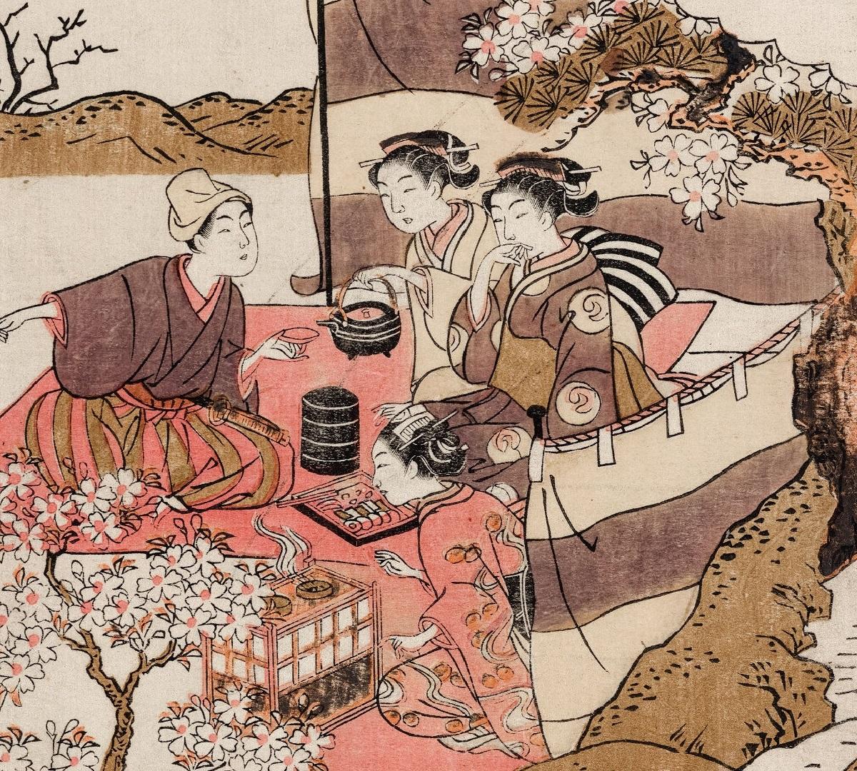 A wood cut print by Kitao Shigemasa from 1772 of Japanese women eating a picnic