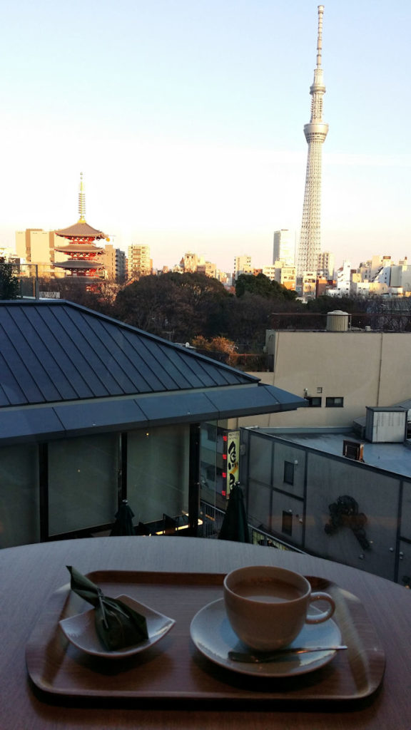 view from hotel of Asakusa with skytree and sensoji tower
