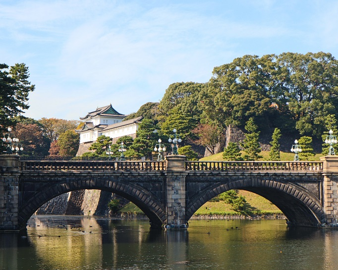 view of Tokyo Imperial Palace with moat and bridge