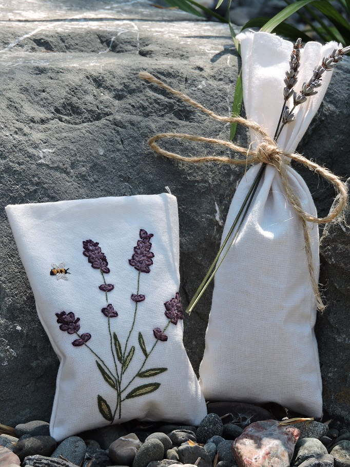 Two Lavender sachets one with embroidery one with twine