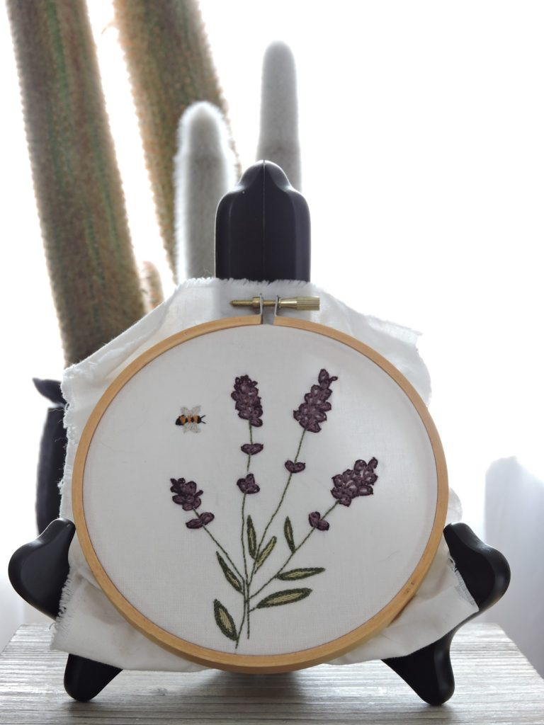 Lavender and bee embroidery