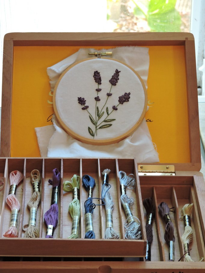 Embroidery supplies organized box