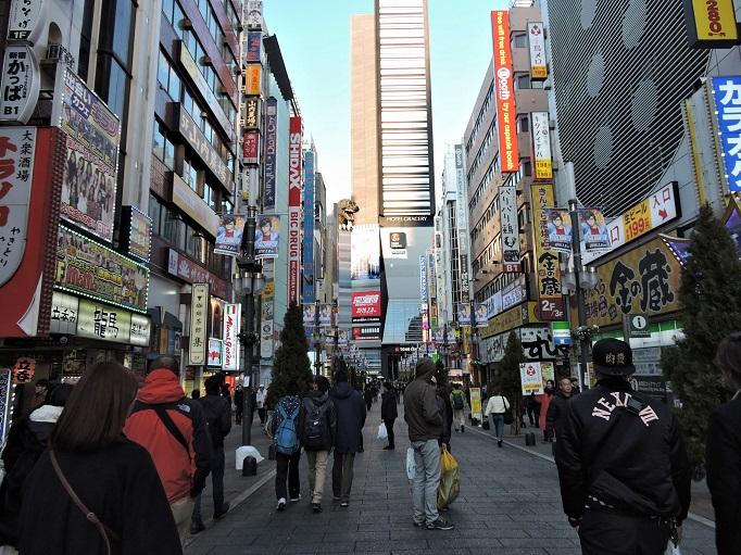 Shinjuku, Tokyo Street with Godzilla in distance
