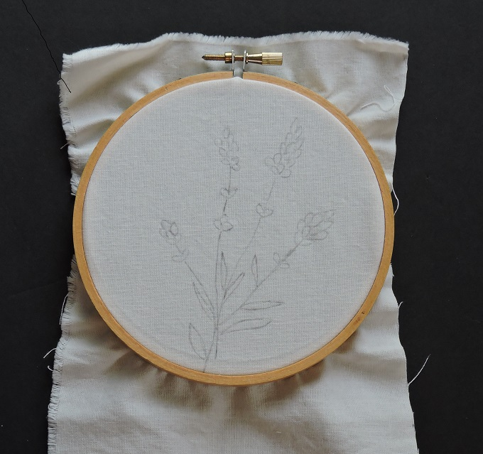 pattern traced on fabric