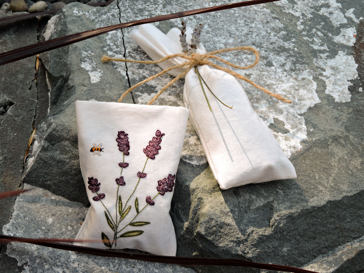 Beautiful Lavender Sachets with Embroidery and twine