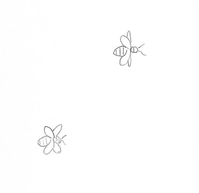 outline sketch of little bees