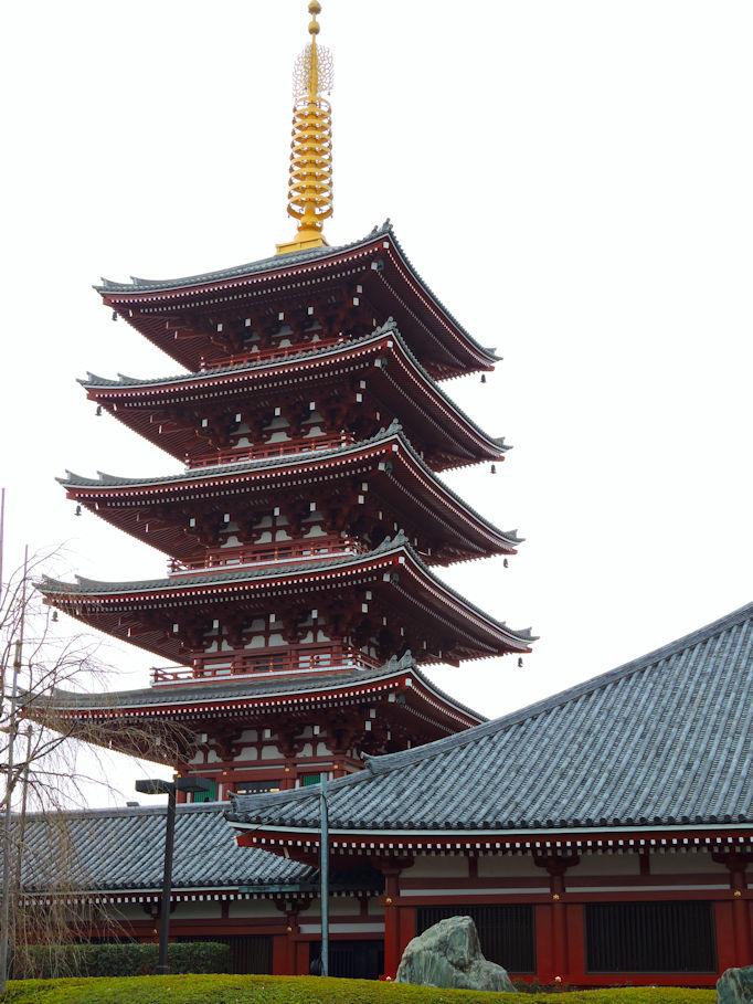 Sensoji temple pagoda, Asakusa, Tokyo