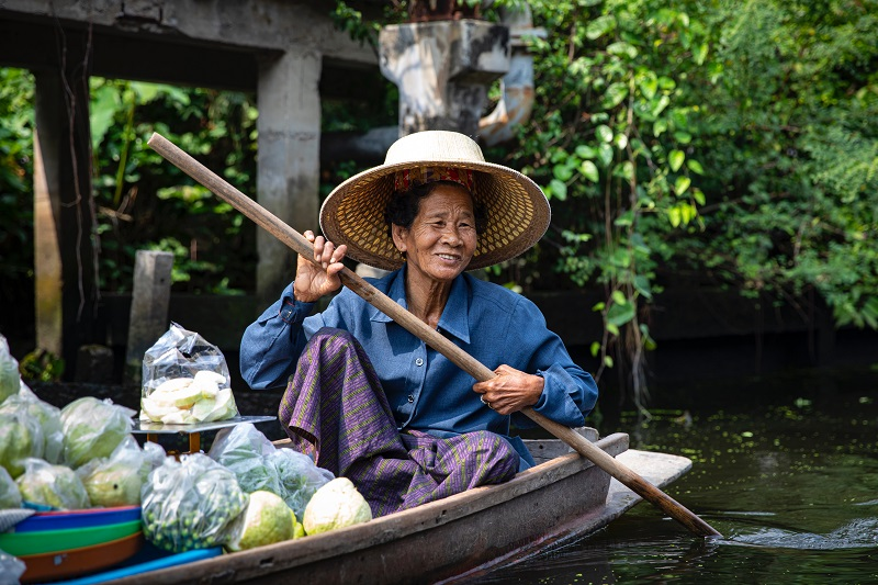 lady on boat