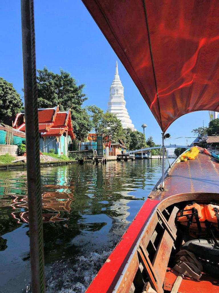 view of wat paknam stupa from river