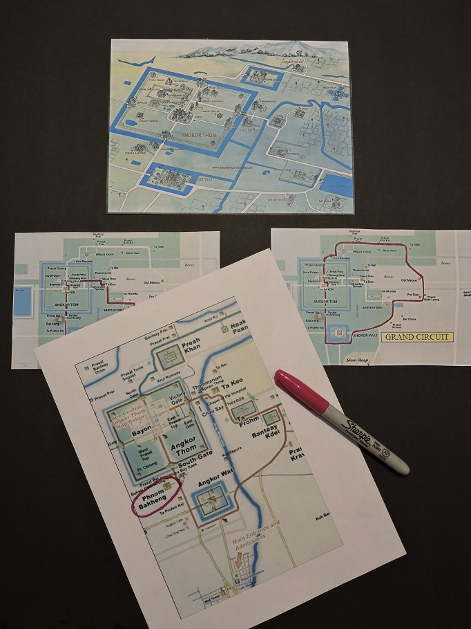 maps with Phnom Bakheng circled