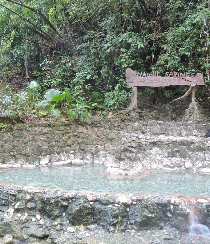 hot spring with sign and jungle
