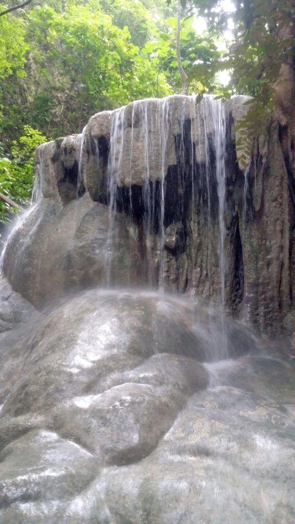 close up of waterfalls bulbous rock formations