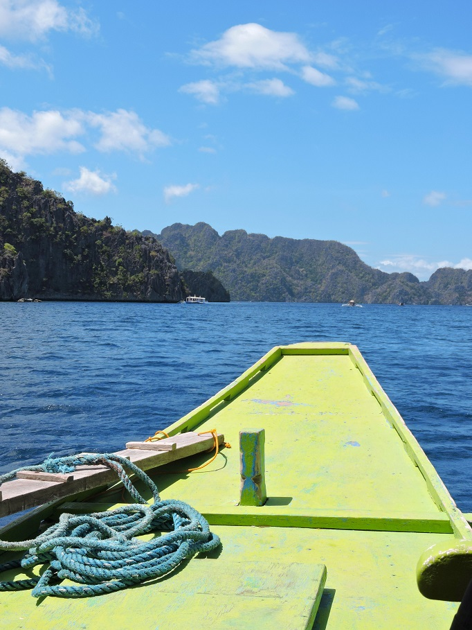 prow of boat on its way island hopping