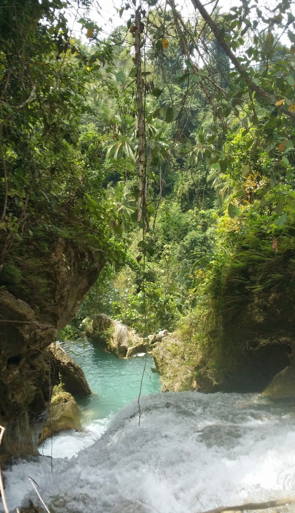 top level of Inambakan falls looking down jungle background
