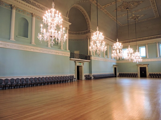 bath england assembly ballroom with large chandeliers