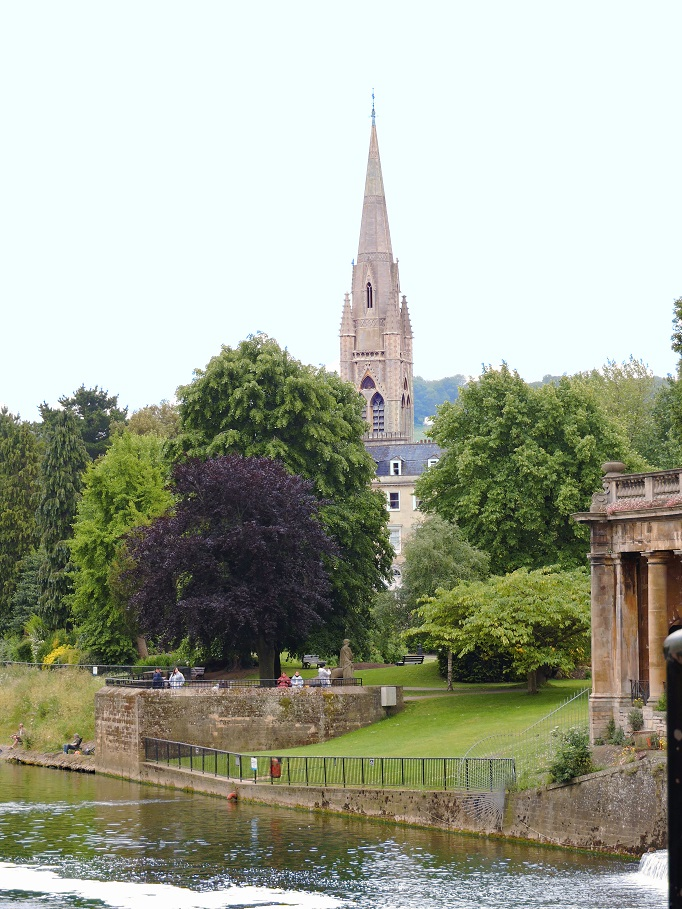 bath parade gardens park with gothic steeple in background