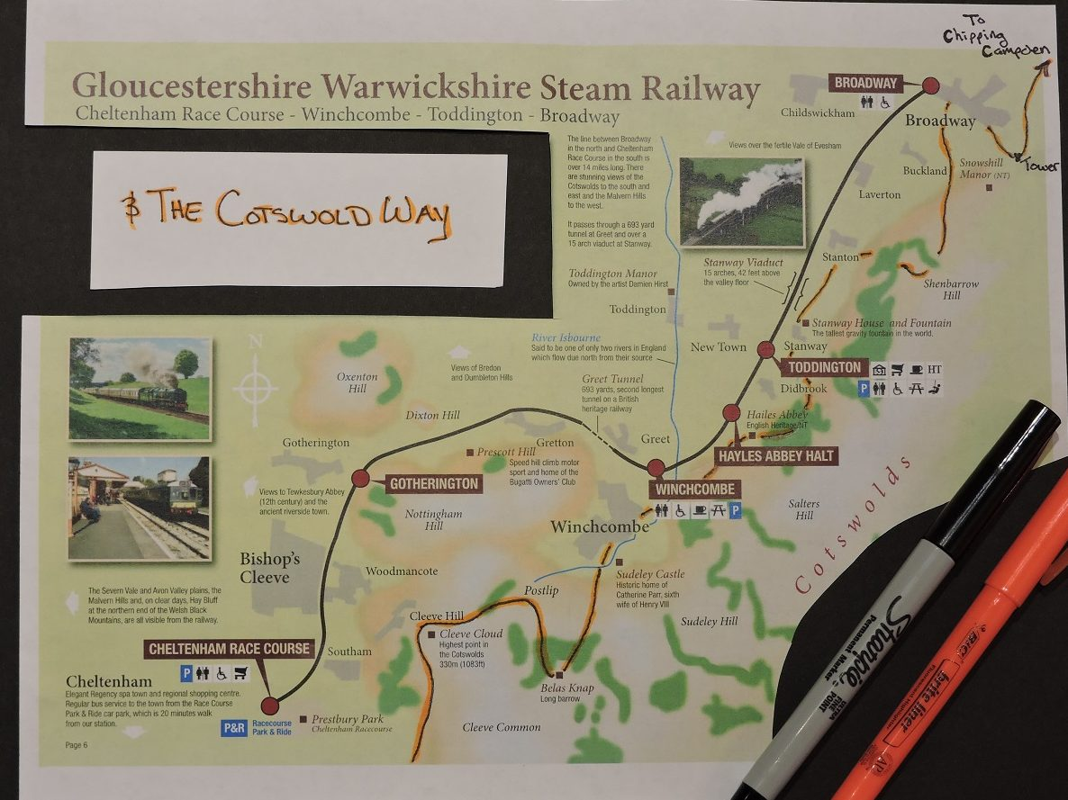 map of rail line in correlation to cotswold way trail