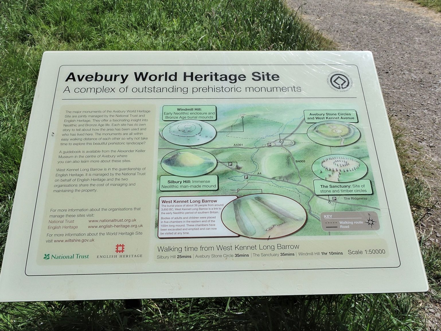 world heritage sign with map of Avebury sites