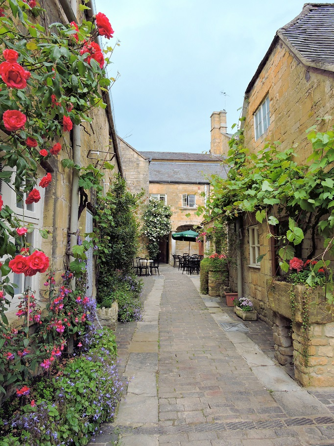 little stone alley with roses