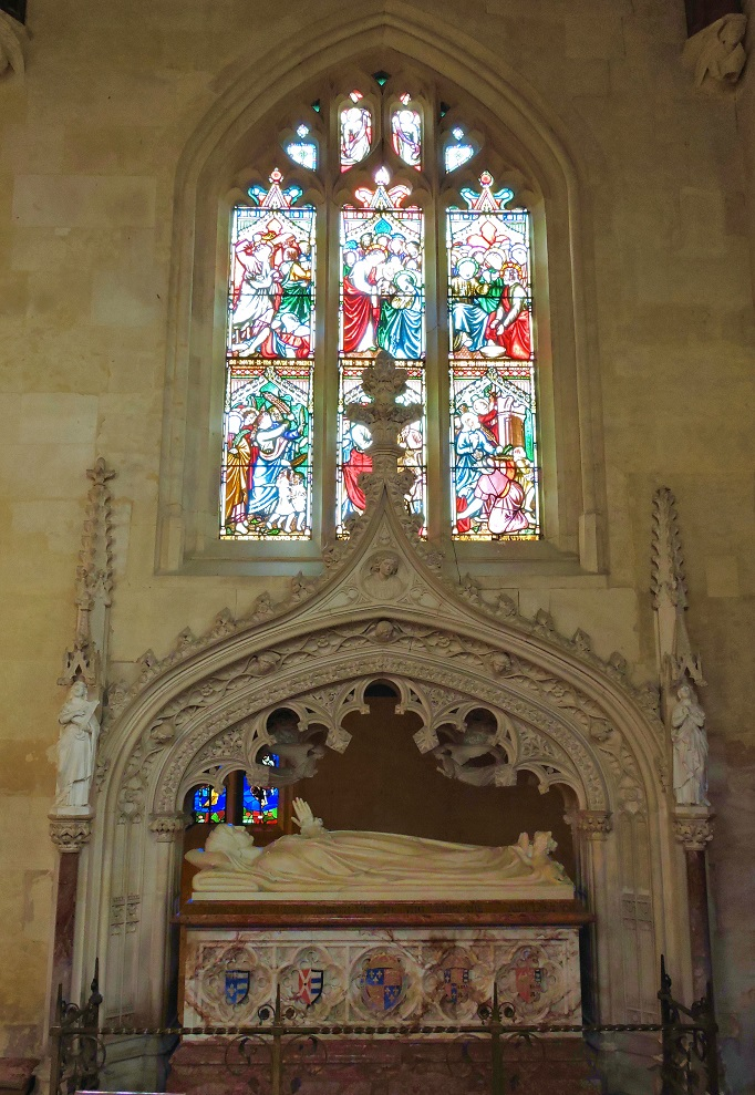 stained windows above tomb