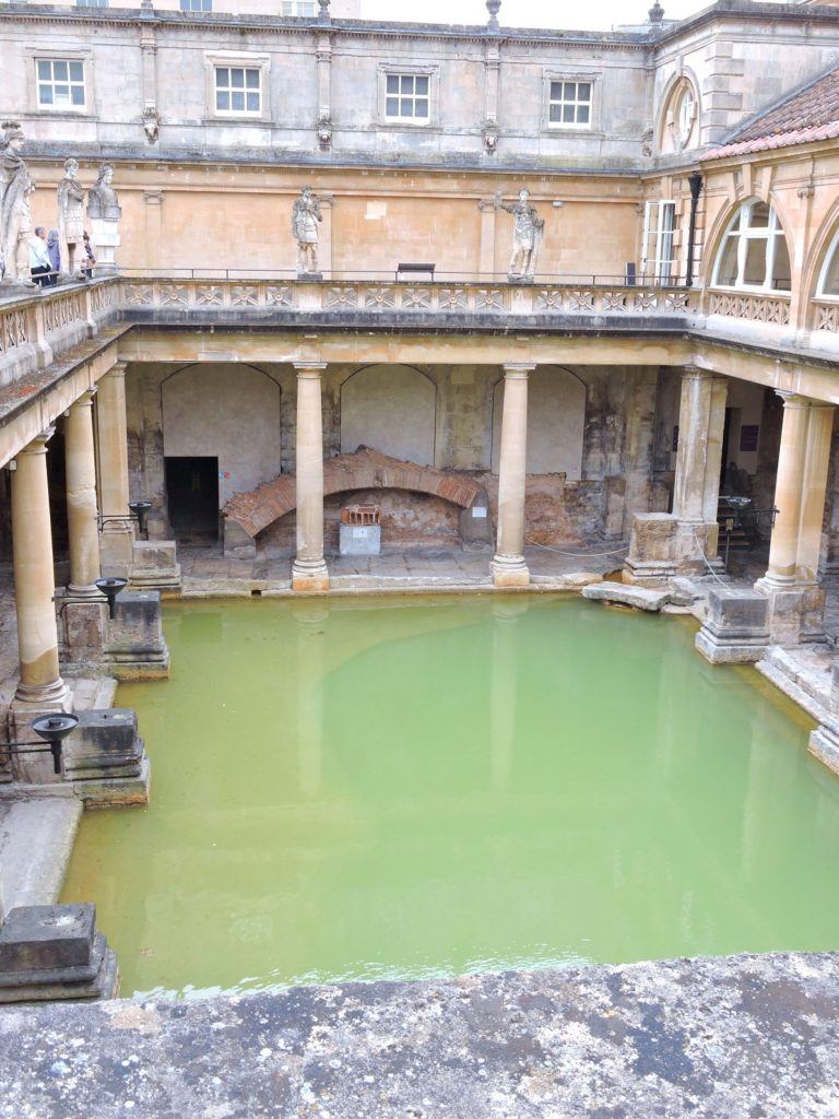 view of the great bath pool stone pillars