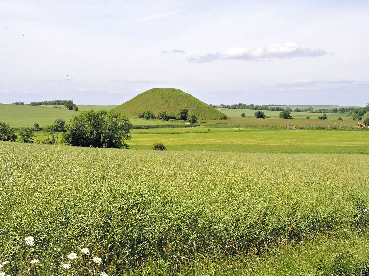 view of Silbury hill and grass fields