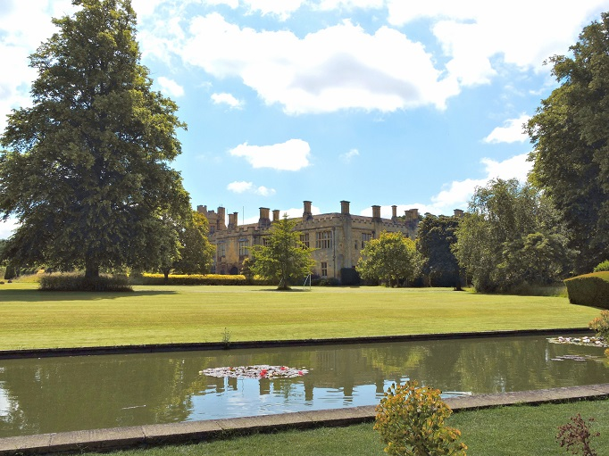 water pond with sudeley castle in background