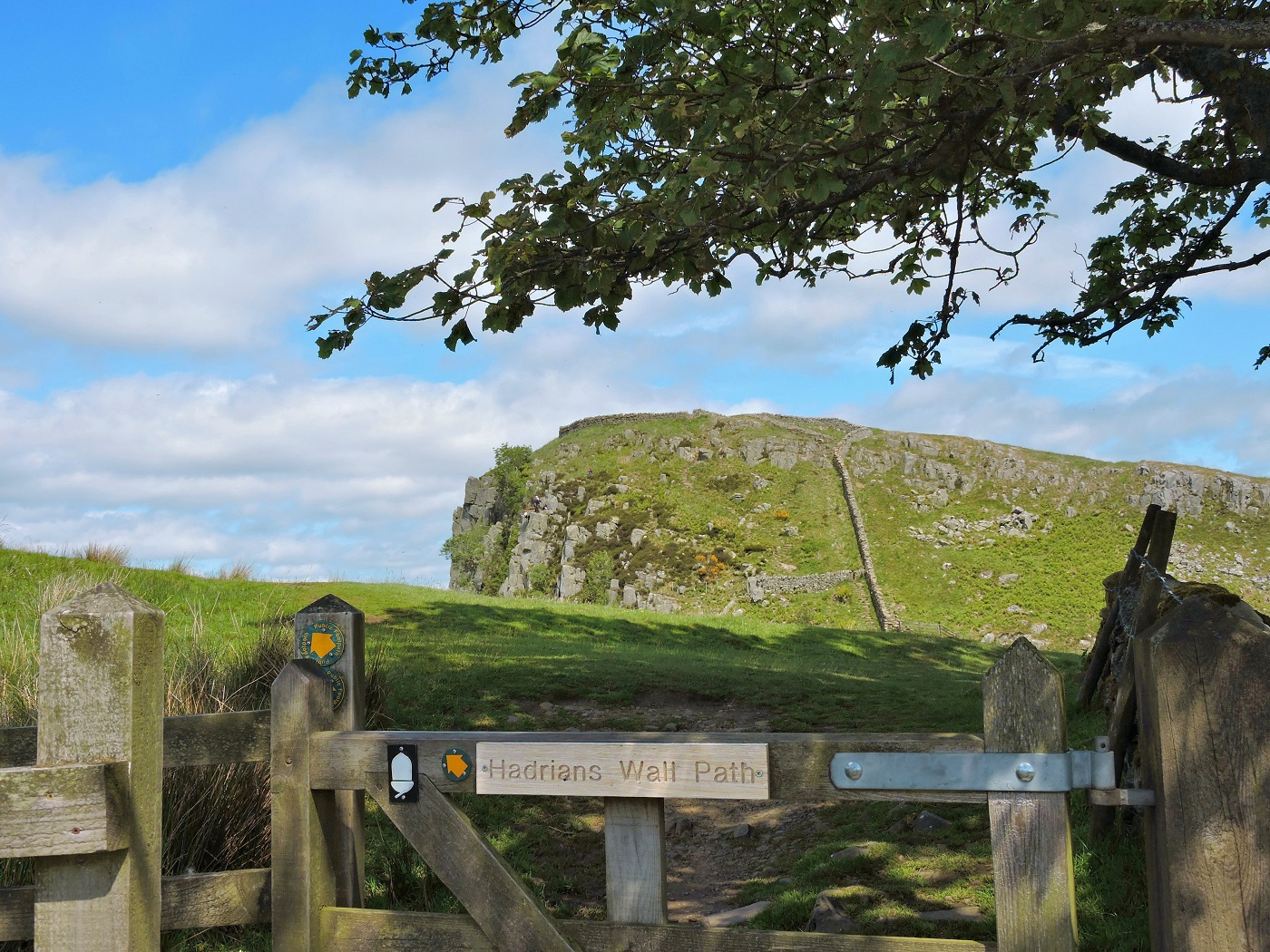gate with hadrian wall sign